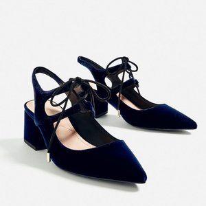 ZARA Velvet Navy Blue Sling Heels Shoes 6.5 Lace